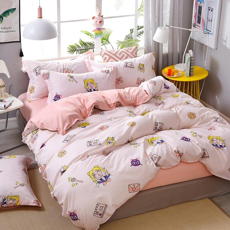 4pcs Kawaii Strawberry Pink Queen Size Bedding Set  5