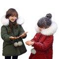 Дети пальто девушки зима 2017 новых детей зимние куртки для девочек средней длины большой меховой воротник пуховики для девочек-30 градусов