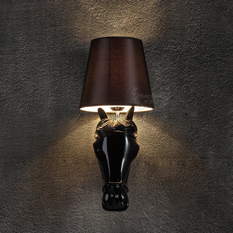 Wall Sconces Equestrian: American Resin Horse Bedroom Wall Light Modern Fashion