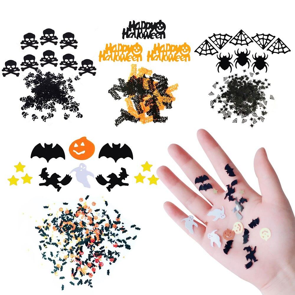 zljq 15g halloween table scatter confetti large tub of plastic pumpkinsbatsghoststarspider webskull motifs - Large Plastic Pumpkins