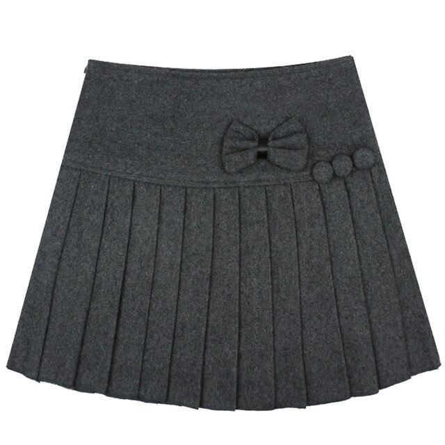 5902f439bac4 Autumn Winter Casual Short Skirts Women's Grils Grey Skirt Tartan Kilt  Pleated With Bowtie Cute Lolita Kawayi Mini Skirts