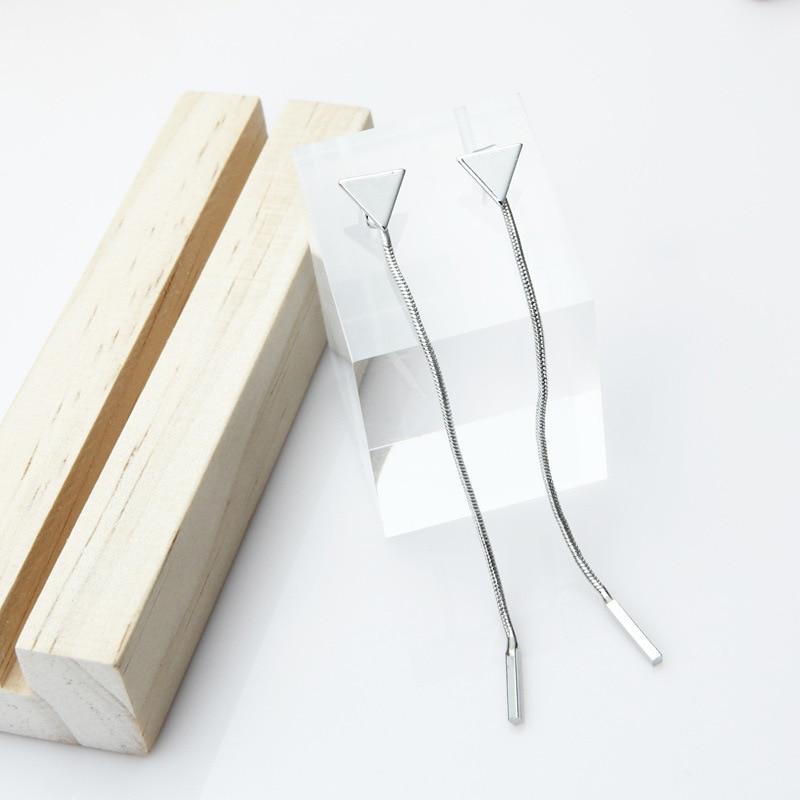 geekoplanet.com - Minimalist Triangle Chain Tassel Earrings