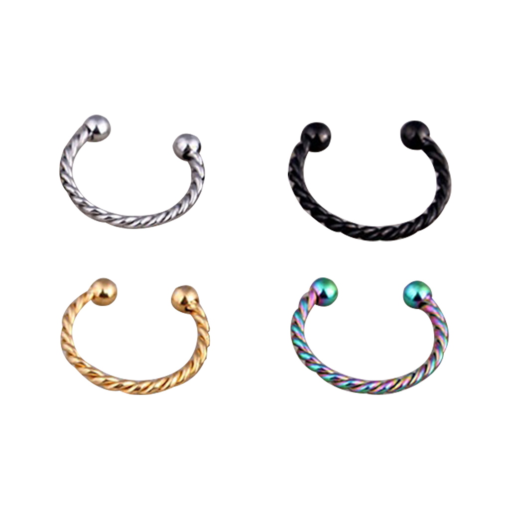 6PCS Titanium Steel Women Fake Hoop Nose Ring Punk Nose Clip Nostril Hoop Nose Hoop Ring Body Piercing Jewelry For Party