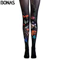 BONAS Flower Pantyhose Leaf Print Tights Female High Waist Cotton Legins Meias Women Trendy Clothing Stockings
