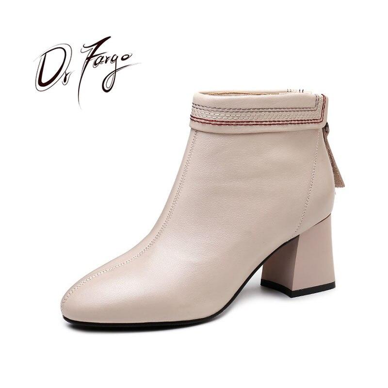 Carrés À Cuir Femmes Bottes Talons Éclair Mode Fermeture Chaussures Black E89563 Drfargo Printemps Beige Noir Robe Chaussure Véritable Hauts Automne e89563 En De nNwO0kX8P