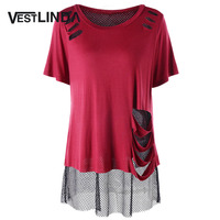 VESTLINDA Women Causal T Shirt Round Neck Short Sleeves Long T Shirts Fashion Plus Size Fishnet