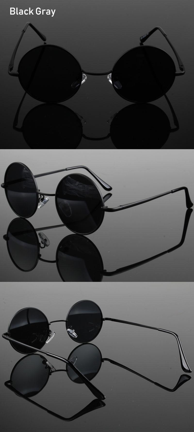 Retro Classic Vintage Round Polarized Sunglasses Men Brand Designer Sun Glasses Women Metal Frame Black lens Eyewear Driving 3