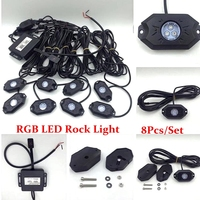 RGB 8 Pods LED Rock Light Kits With Bluetooth Control Cell Phone Control Timing Music Mode