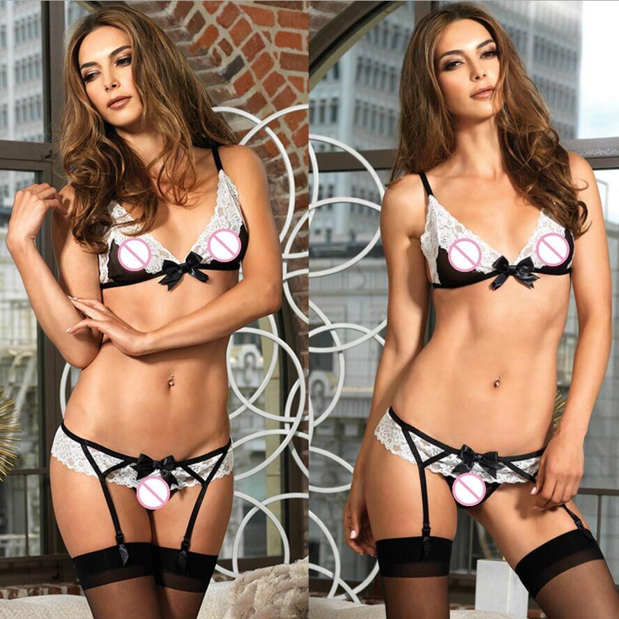 2018 Sexy Underwear Women Female Set Erotic Lingerie Set Lace Bra Push Up Brassiere Adjustable Transparent Bralette Intimates