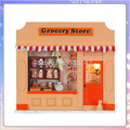 13512 mini grocery shop diy miniature dollhouse Grocery store led light doll house wood free shipping