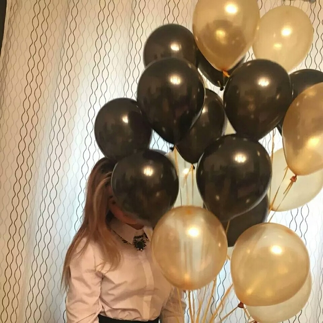 30pcs/lot 10 inch Tiffany Gold Black Latex Helium Balloons Wedding Birthday Baby Shower Party Decor Supplies Kids Toy air globos