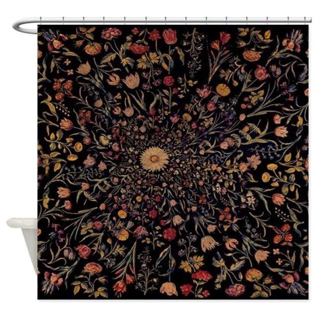 Medieval Flowers On Black Shower Curtain Decorative Fabric 8 Sizes For The Bathroom With 12 Hooks
