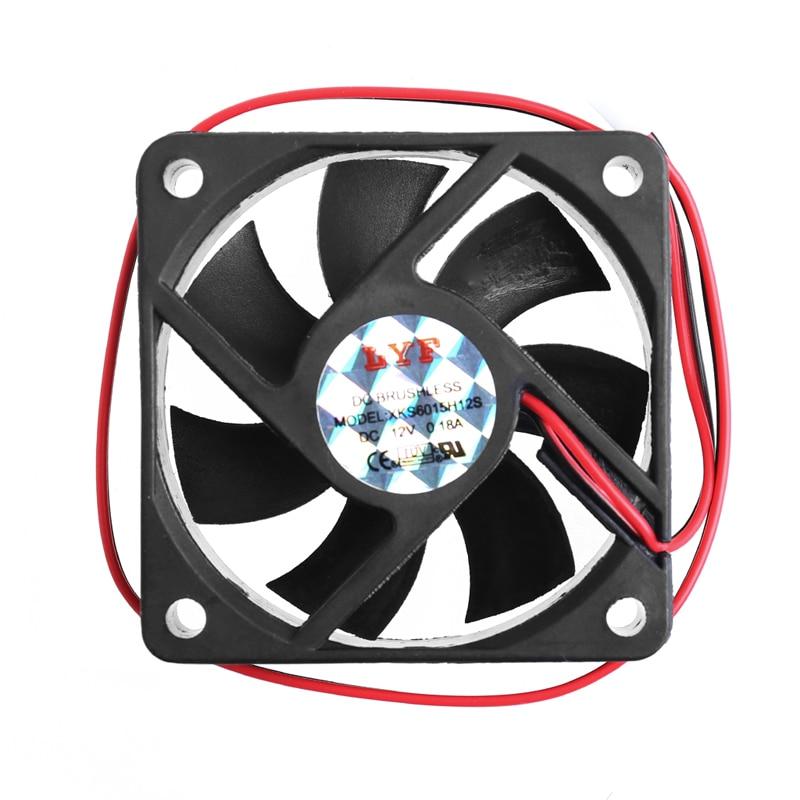 DC 12V 2-Pin 60x60x15mm PC Computer CPU System Sleeve-Bearing Cooling Fan 6015 - L059 New hot aerocool 15 blade 1 56w mute model computer cpu cooling fan black 12 x 12cm 7v