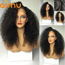 13X6 предварительно сорванные монгольская причудливая завивка фронта шнурка человеческих волос парики с волосами младенца 250 плотность девственные волосы парики для черных женщин