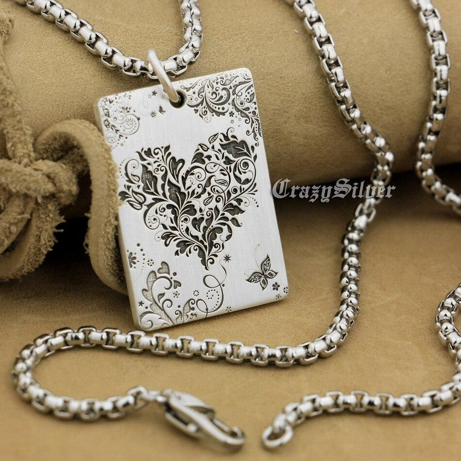 Haute détail gravé profond personnalisable 925 en argent Sterling coeur fleur chien Tag hommes Biker Rocker Punk pendentif 9X004 acier N 24