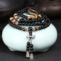 Black Color Tiger Eye Crystal Tibet Buddhist Buddha Meditation 108 Prayer Bead Mala Bracelet/Necklace 1