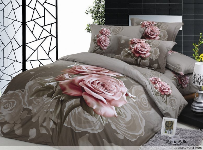 Sex Gray And Pink Rose Bedding Oil Painting 500tc Pink