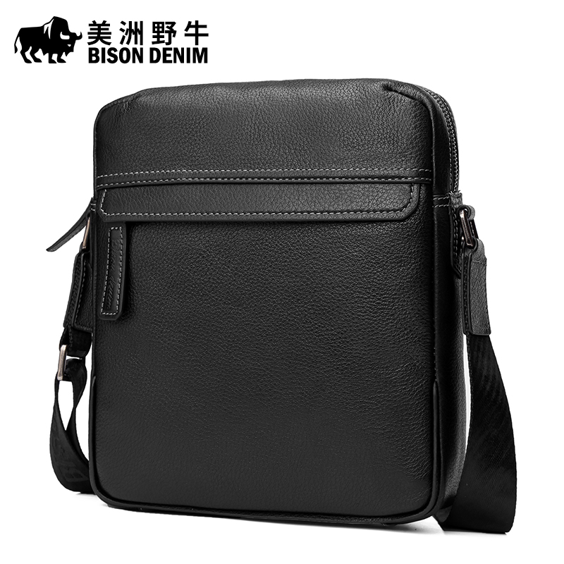 2017 New Hot Men Shoulder Bags BISON DENIM Brand Genuine Leather Messenger Bag New Men's Business Casual Travel Bags Free Ship 2017 new brand crocodile genuine leather men travel bags leisure laptop solid men shoulder bag business men messenger bags a1368