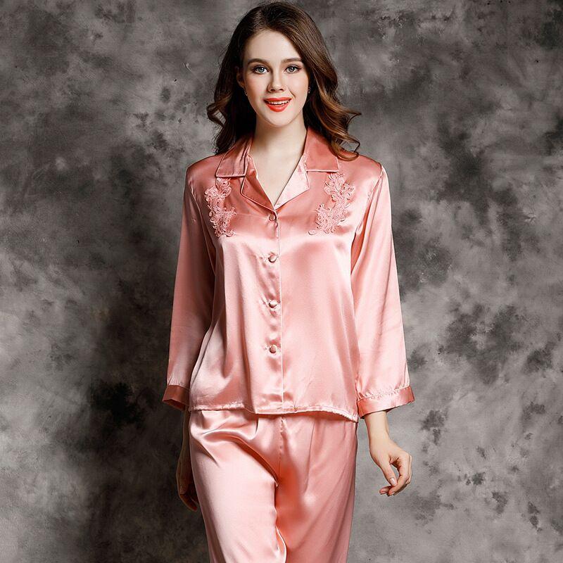 Wholesale 100% Real Silk Pajamas Women Two-piece Long-sleeved Sleepwear Mulberry Home Suit Female Homewear Pijama Mujer