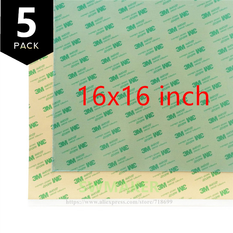SWMAKER 16x16 inch (i.e 400x400 mm) Replacement PEI Sheet with 468MP adhesive tape for Reprap Prusa i3 MK2/Rework 3D Printer funssor replacement pei sheet ultem with 200mp adhesive tape for reprap prusa i3 mk2 rework and other size 3d printer