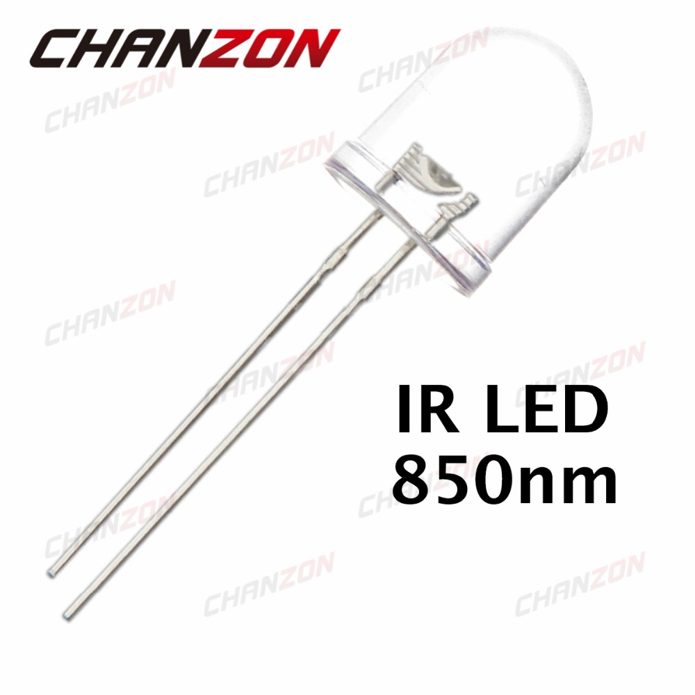 10pcs 10mm Infrared <font><b>LED</b></font> 850nm Light Emitting Diode Water Clear DC <font><b>1.5V</b></font> 30mA Lamp Infrared Through Hole 10 mm Transparent Bulb image
