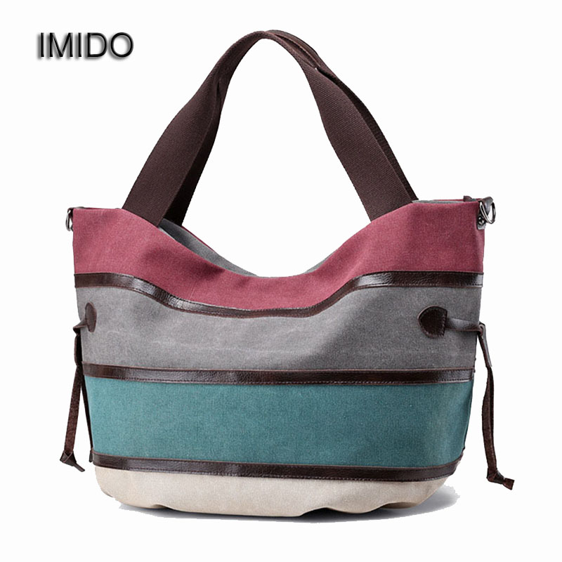 IMIDO Famous Brand Women Handbag Canvas Large Capacity Travel Bag Duffle Tote Belt Shoulder Bag Crossbody Bags for Ladies HDG010 famous brand women canvas bags shoulder bag italy handbag style retro handmade bolsa feminina braccialini for ladies mexico bags