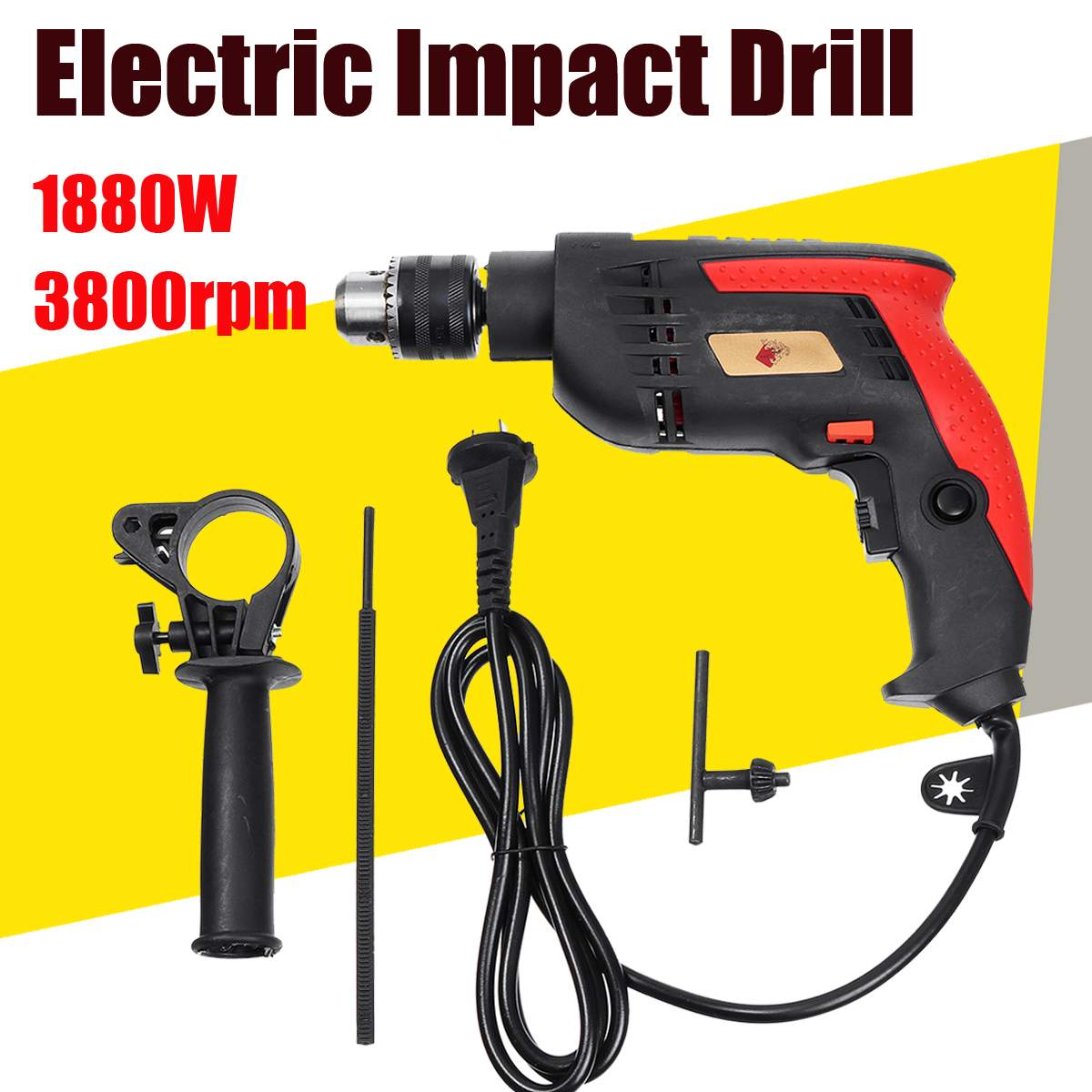 New Style 1880W 3800RPM Electric Impact Drill Household Electric Flat Drill 13mm Chuck Power ToolNew Style 1880W 3800RPM Electric Impact Drill Household Electric Flat Drill 13mm Chuck Power Tool