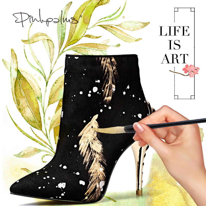 Pink Palms newest women winter boots high heels ankle boots for women snow boots fashion print pointed toe sexy classic boot рюкзак mi pac tropical palms tropical palms 081