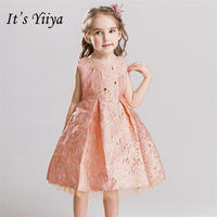 It's yiiya New Bling Sleevelss Flower Girl Dresses Pink Princess Ball Grown Sweet O neck Floral Girls Dress 912