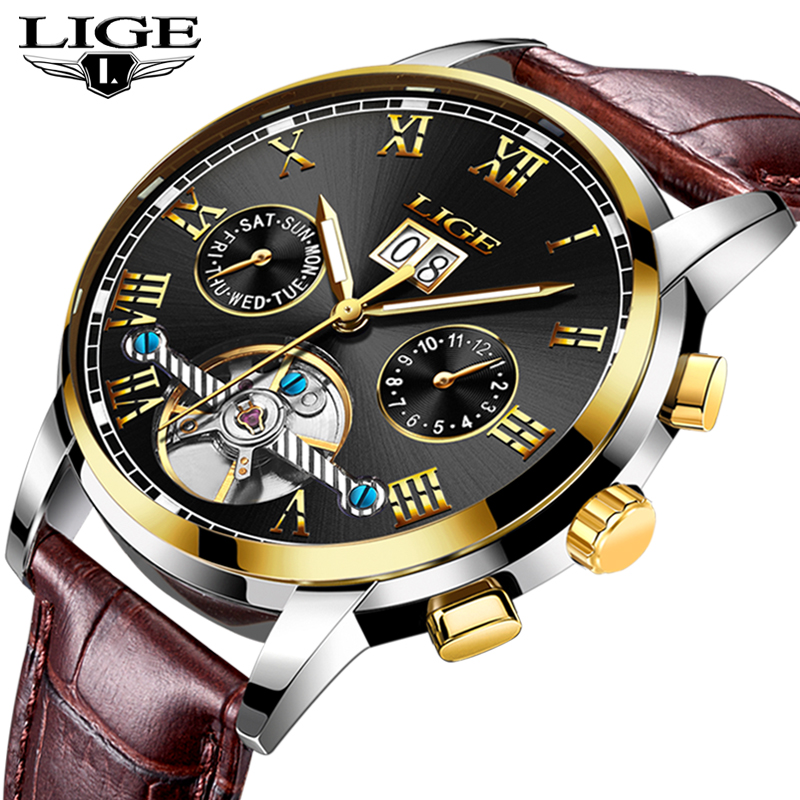 LIGE Mens Watches Top Brand Luxury Mens Military Sport Watch Leather Waterproof Mechanical Watch Men Relogio Masculino+BoxLIGE Mens Watches Top Brand Luxury Mens Military Sport Watch Leather Waterproof Mechanical Watch Men Relogio Masculino+Box