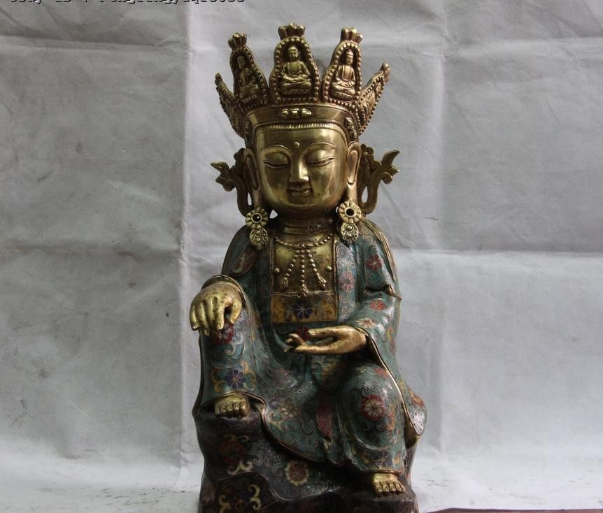 Tibet Pure Bronze Cloisonne Enamel 24K Gold Kwan-yin Guan Yin Bodhisattva Statue