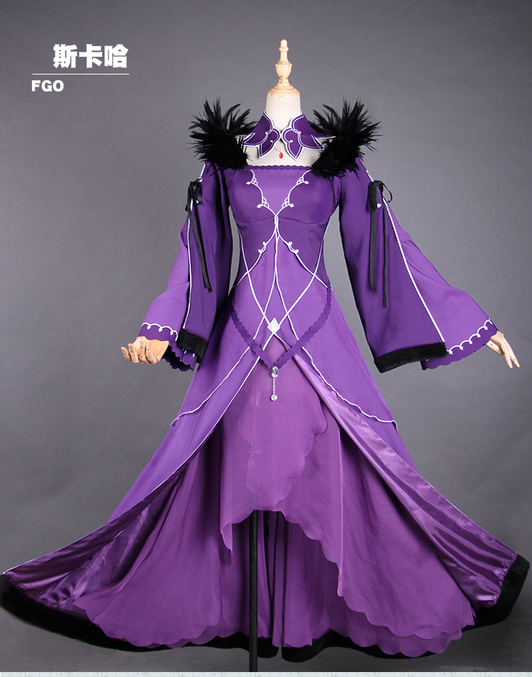 Scathach FGO2 Cosplay Fate/Grand Order Caster Scathach cospaly costume purple dress female halloween costumes for women gift 2
