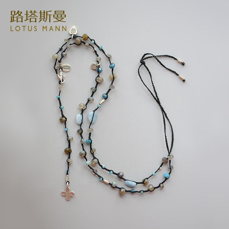 Natural sea blue crystal and sea blue Paula long stone knitted necklace ngr sea otters