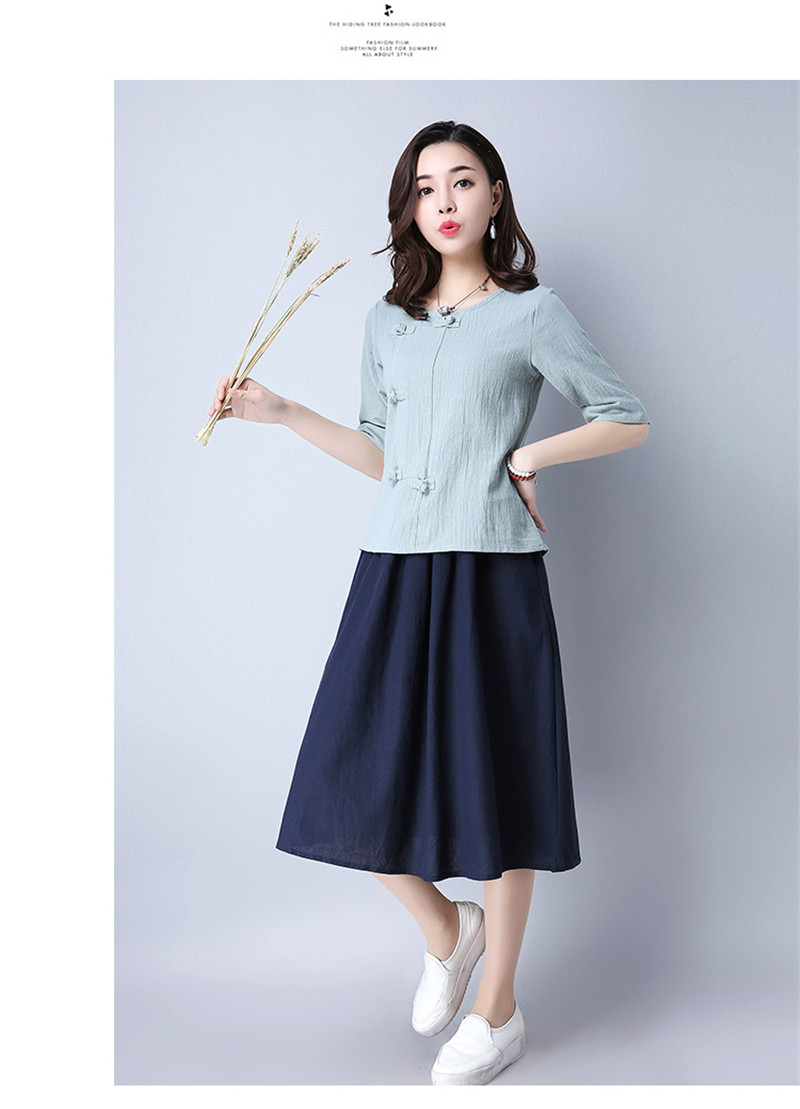Cotton 2018 Summer Half Sleeve Loose Lady Vintage Women Shirt O Neck Chinese Style Linen T-Shirt Button 3XL 20