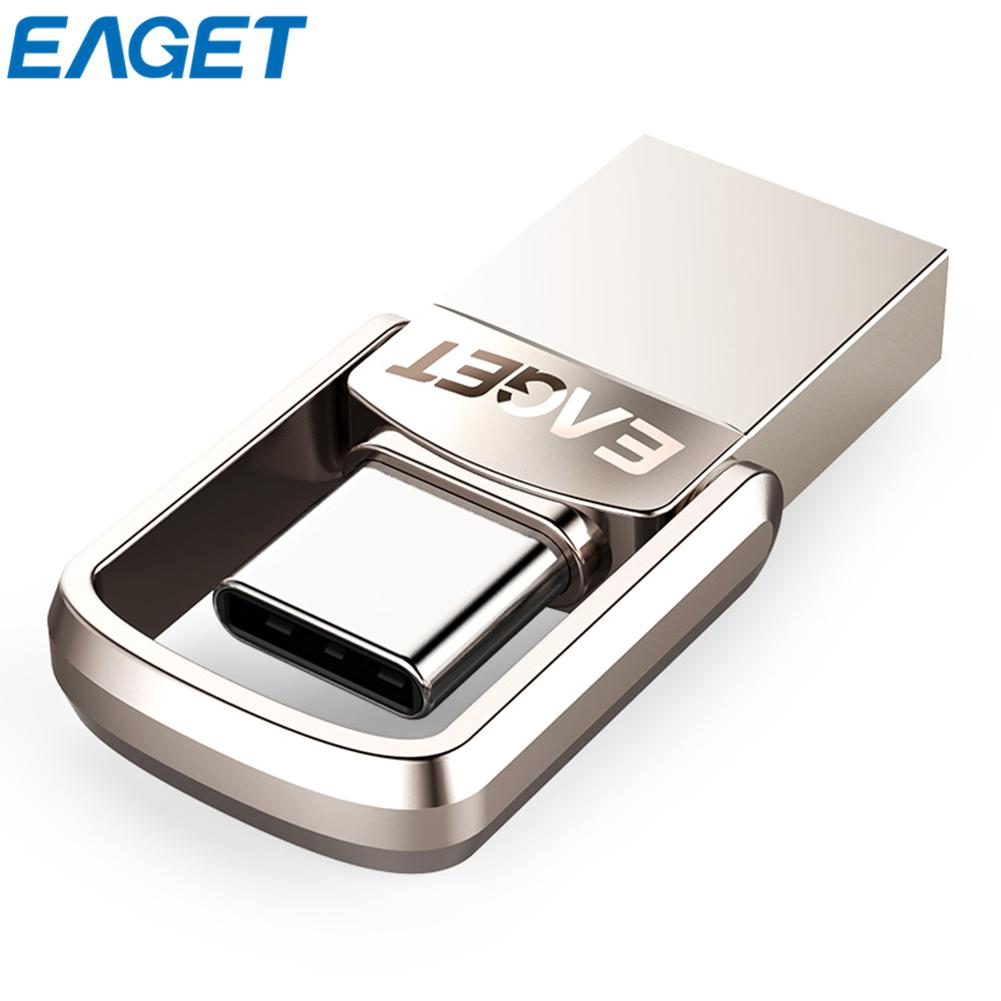 EAGET CU10 USB3.0 Type-C Pendrive Micro USB OTG Type C 16GB 32GB 64GB Metal Flash Drive Dual Plug USB Memory Stick eaget cu10 portable type c 3 1 usb3 0 dual interfaces u disk 32gb