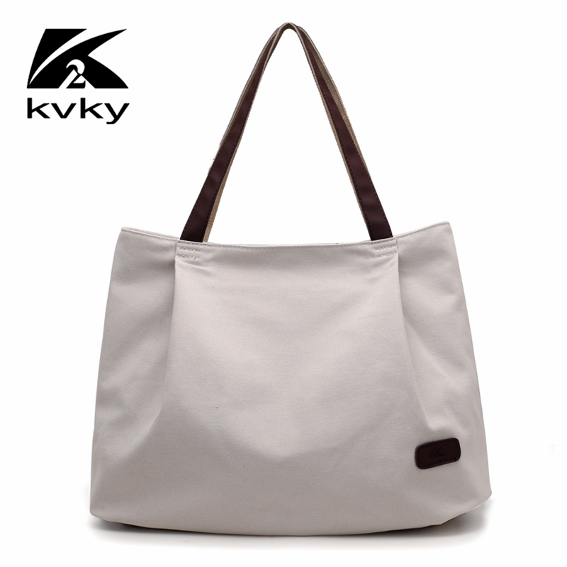 KVKY Fashion Canvas Bag Famous Brand Women Handbags Solid Casual Women Shoulder Bags Female Large Capacity Tote Bag High Quality