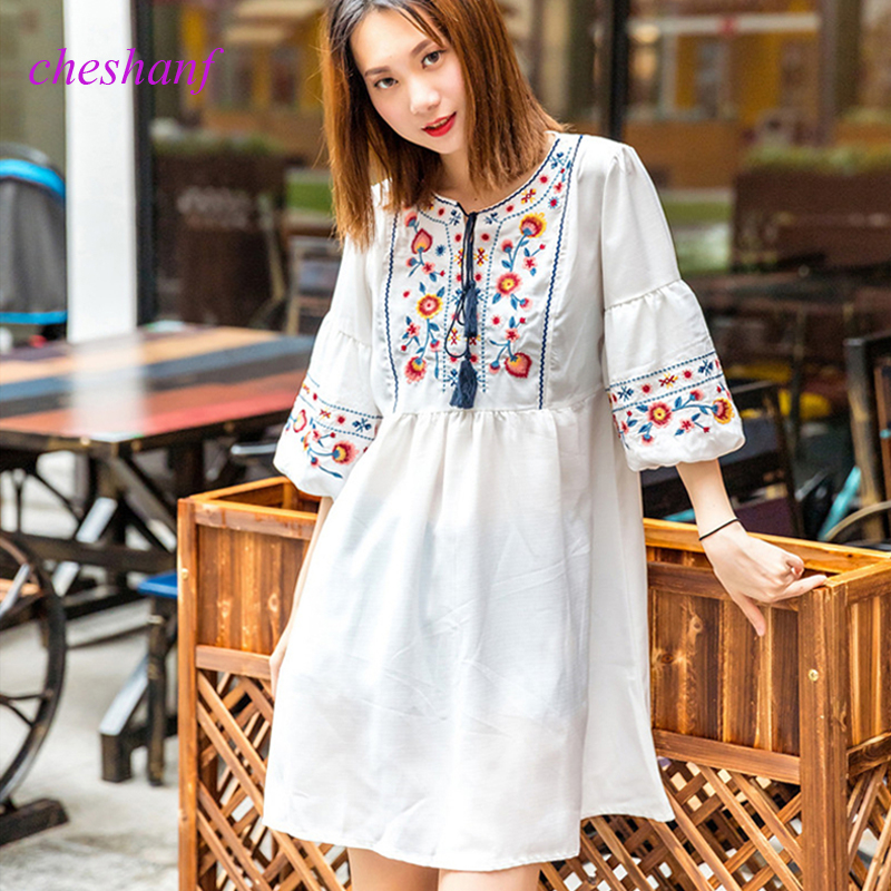 Women Vintage Floral Embroidery Dresses Bow Tie Lantern Long Sleeve Casual Brand Loose Pleated Dresses Elegant Boho Dress Платье