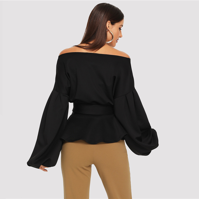 SHEIN White Office Lady Elegant Lantern Sleeve Surplice Peplum Off the Shoulder Solid Blouse Autumn Sexy Women Tops And Blouses 19