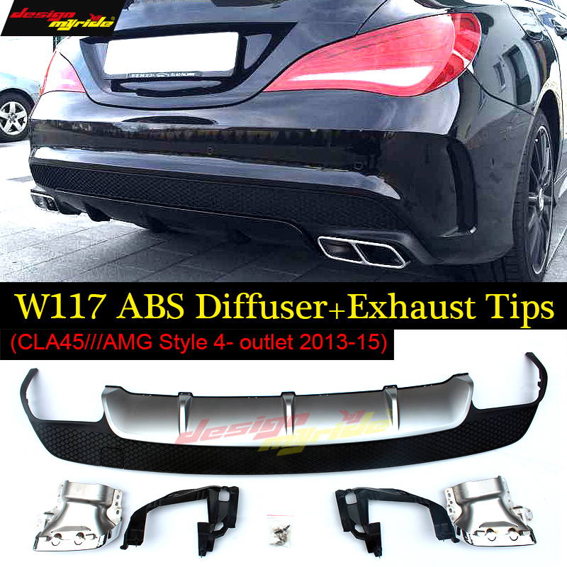 For Mercedes benz CLA W117 Posterior lip diffuser+4-outlet alloy exhaust tip abs Silver with CLA45 CLA180 CLA200 CLA250 2013-15