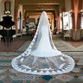 Vintage Style Lace Cathedral Wedding Veils Applique Edge Long One Layer Bridal Veils Custom Made 3CM For Bridal Veils