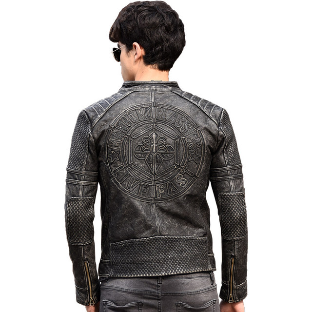 0e0cf451178 2019 Vintage Black Genuine Leather Mens Motorcycle Jacket Plus Size 3XL  Slim Fit Thick Cowhide Winter
