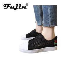 Fujin Brand 2019 Spring Summer New Wild Fashion Lace Breathable White Shoes Female Students Flat Canvas Casual