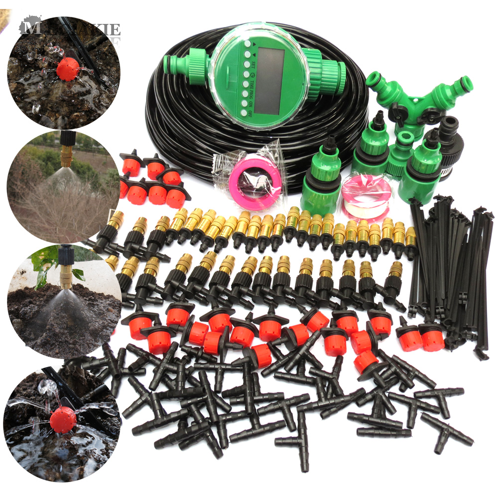 MUCIAKIE 10M-50M Automatic Garden Watering System Kits Self Garden Irrigation Watering Kits Micro Drip Mist Spray Cooling System