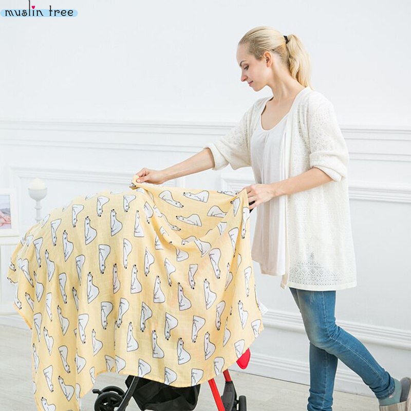 Newborn Muslin Swaddle Baby Multi-use Organic Bamboo Cotton Blanket Infant Parisarc Cross Wrap