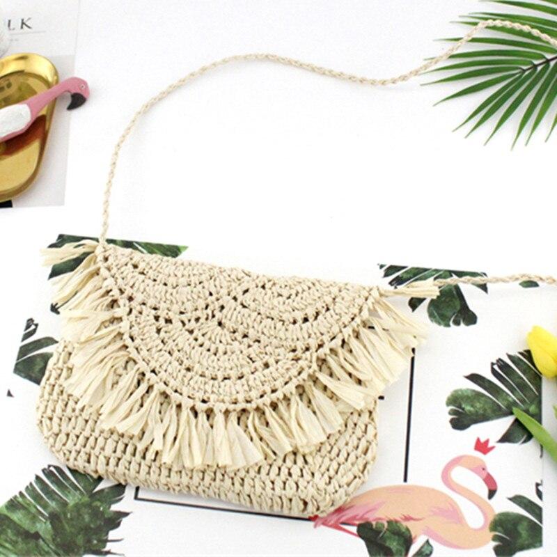 Women Summer Beach Paper Rope Straw Woven Bucket Hand Shoulder Handbag Tote Bag