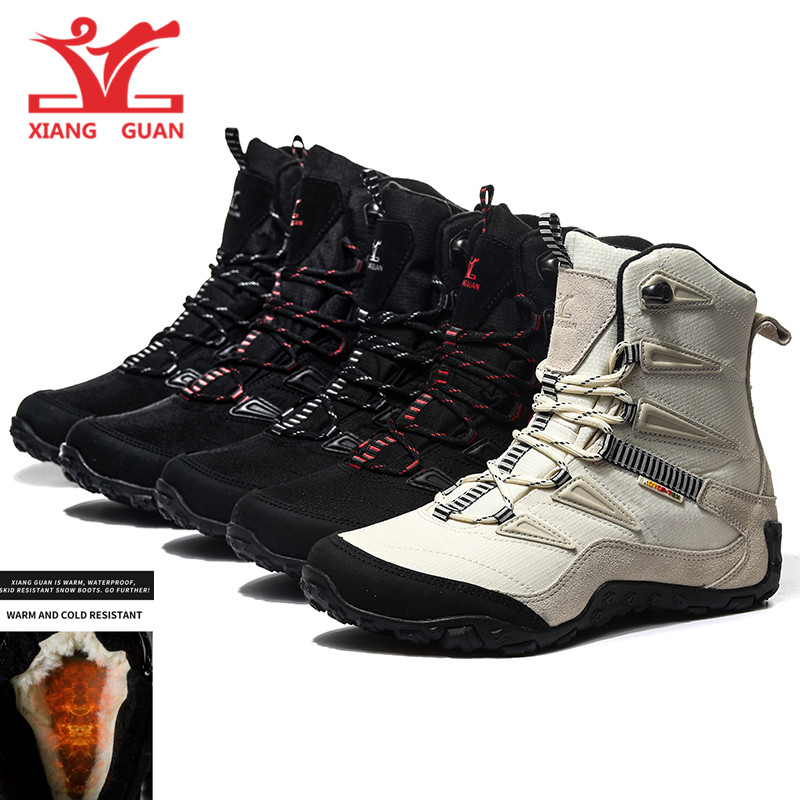 XIANG GUAN Men Hiking Boots Cow Leather Women Trekking Shoes Black Waterproof Sports Climbing Outdoor Hunting Walking Sneakers 6 цена и фото