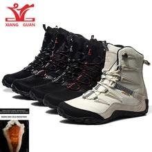 цены XIANG GUAN Men Hiking Boots Cow Leather Women Trekking Shoes Black Waterproof Sports Climbing Outdoor Hunting Walking Sneakers 6