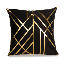 Bronzing Cushion Cover Gold Printed Black and White Pillow Cover Geometric Decorative Pillow Case Sofa Polyester pillowcas home trendy black and white stripe v shape square sofa pillow case