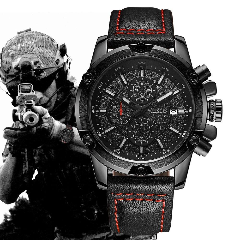 OCHSTIN Military Watch Men Top Brand di Lusso Famoso Della Vigilanza di Sport Maschio Orologio Da Polso Al Quarzo Relogio Masculino 2018 Nero