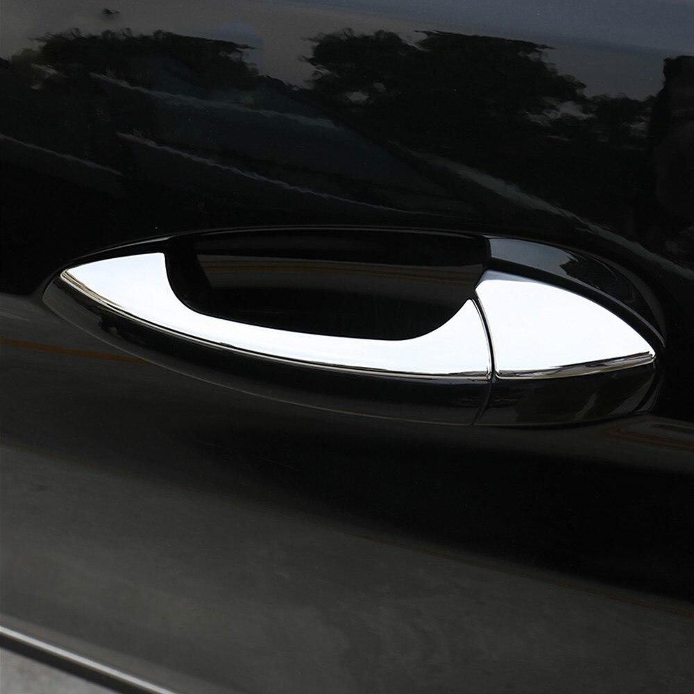 FUNDUOO Mercedes Benz B C E GLK ML CLA sınıfı W246 W166 W117 X204 W204 W212 paslanmaz çelik araba kapı kolu kapak Trim